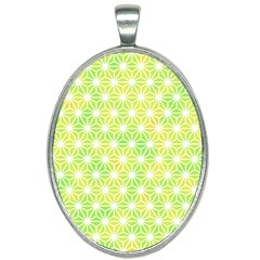 Traditional Patterns Hemp Pattern Green Oval Necklace