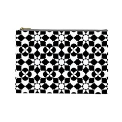 Mosaic Floral Repeat Pattern Cosmetic Bag (large)