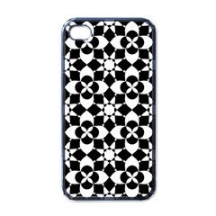 Mosaic Floral Repeat Pattern Apple Iphone 4 Case (black)