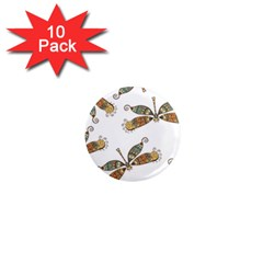 Pattern Dragonfly Background 1  Mini Magnet (10 Pack)