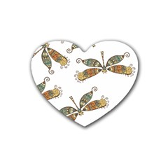 Pattern Dragonfly Background Heart Coaster (4 Pack)