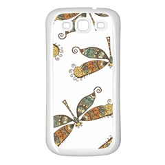 Pattern Dragonfly Background Samsung Galaxy S3 Back Case (white)
