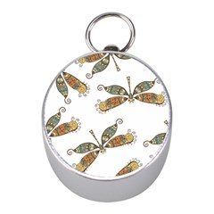 Pattern Dragonfly Background Mini Silver Compasses