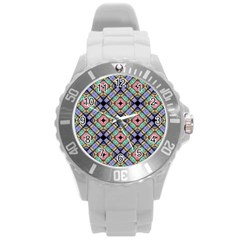 Pattern Wallpaper Background Round Plastic Sport Watch (l) by Pakrebo
