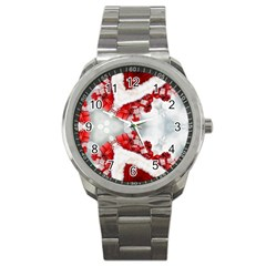Christmas Background Tile Gifts Sport Metal Watch by Pakrebo