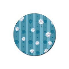 Gardenia Flowers White Blue Rubber Round Coaster (4 Pack)