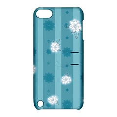 Gardenia Flowers White Blue Apple Ipod Touch 5 Hardshell Case With Stand