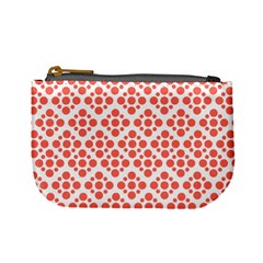 Floral Dot Series   Living Coral And White Mini Coin Purse