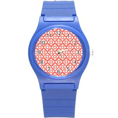 Floral Dot Series   White And Living Coral Round Plastic Sport Watch (s)