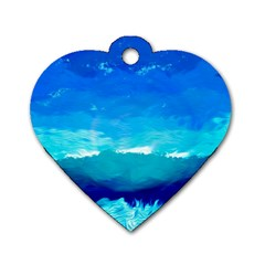 Blue Sky Artwork Drawing Painting Dog Tag Heart (two Sides)