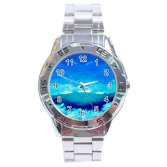 Blue Sky Artwork Drawing Painting Stainless Steel Analogue Watch by Pakrebo