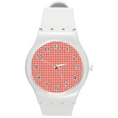 Grid In Living Coral Round Plastic Sport Watch (m) by TimelessFashion