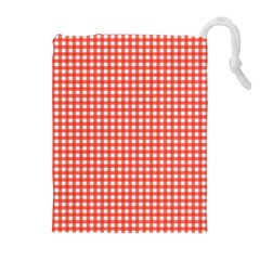 Grid In Living Coral Drawstring Pouch (xl)