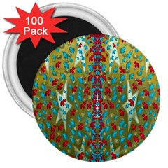 Raining Paradise Flowers In The Moon Light Night 3  Magnets (100 Pack) by pepitasart