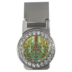 Raining Paradise Flowers In The Moon Light Night Money Clips (cz)  by pepitasart