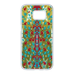 Raining Paradise Flowers In The Moon Light Night Samsung Galaxy S7 Edge White Seamless Case by pepitasart