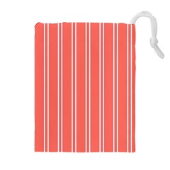 Nice Stripes In Coral Drawstring Pouch (xl) by TimelessFashion