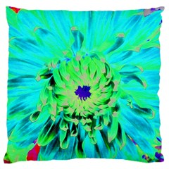 Aqua Cactus Dahlia Large Cushion Case (two Sides)