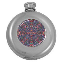 Tile Repeating Colors Textur Round Hip Flask (5 Oz) by Pakrebo