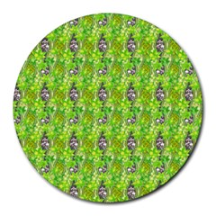 Maple Leaf Plant Seamless Pattern Round Mousepads