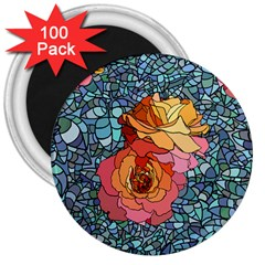 Pattern Rose Yellow Background 3  Magnets (100 Pack)
