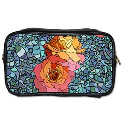 Pattern Rose Yellow Background Toiletries Bag (two Sides)