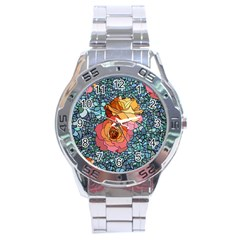 Pattern Rose Yellow Background Stainless Steel Analogue Watch