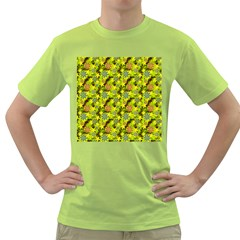 Flowers Yellow Red Blue Seamless Green T Shirt