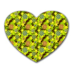 Flowers Yellow Red Blue Seamless Heart Mousepads