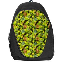 Flowers Yellow Red Blue Seamless Backpack Bag by Pakrebo