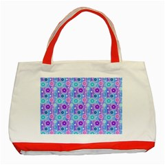 Flowers Light Blue Purple Magenta Classic Tote Bag (red)