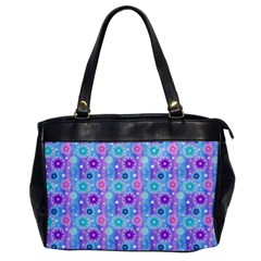 Flowers Light Blue Purple Magenta Oversize Office Handbag