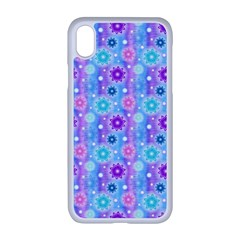 Flowers Light Blue Purple Magenta Apple Iphone Xr Seamless Case (white)