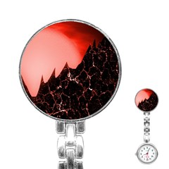 Sci Fi Red Fantasy Futuristic Stainless Steel Nurses Watch