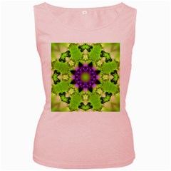 Pattern Abstract Background Art Green Women s Pink Tank Top