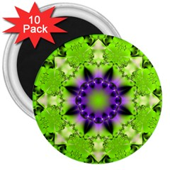 Pattern Abstract Background Art Green 3  Magnets (10 Pack)