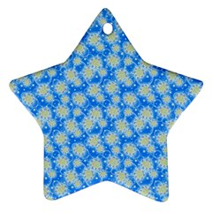 Hydrangea Blue Glitter Round Star Ornament (two Sides)