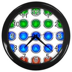 Vector Round Image Color Button Wall Clock (black)