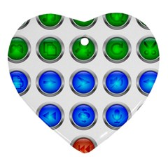 Vector Round Image Color Button Heart Ornament (two Sides)