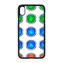 Vector Round Image Color Button Apple Iphone Xr Seamless Case (black)