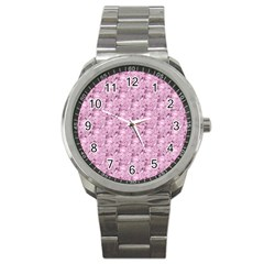 Texture Flower Background Pink Sport Metal Watch
