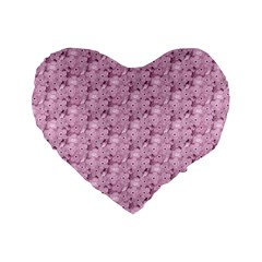 Texture Flower Background Pink Standard 16  Premium Heart Shape Cushions