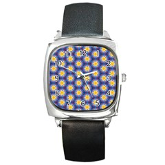 Graphic Pattern Seamless Square Metal Watch