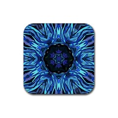 Background Blue Flower Rubber Coaster (square)