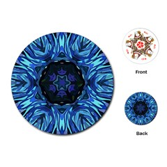 Background Blue Flower Playing Cards (round)