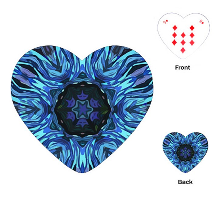 Background Blue Flower Playing Cards (Heart)