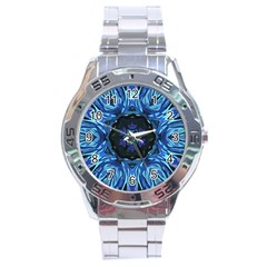 Background Blue Flower Stainless Steel Analogue Watch