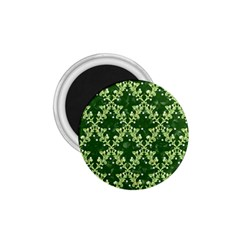 White Flowers Green Damask 1 75  Magnets