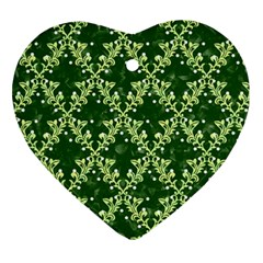 White Flowers Green Damask Ornament (heart)