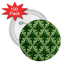 White Flowers Green Damask 2 25  Buttons (100 Pack)
